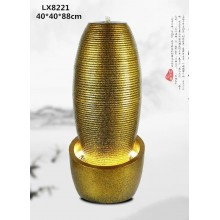 WATER FOUNTAIN -GOLD COLOR VASE LX8221 FENG SHUI HOME DECORATION