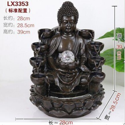 CHINESE FENG SHUI WATER FOUNTAIN - BUDDHA LX3353 - BLACK COLOUR