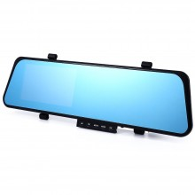 1080P FULL HD 4.3 INCH G-SENSOR DUAL LENS REARVIEW CAMERA CAR DVR DASH CAM RECORDER VIDEO REAR VIEW MIRROR WITH NIGHT VISION MOTION DETECTION Black