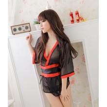 Black Secret Sexy Babydoll Kimono Dress