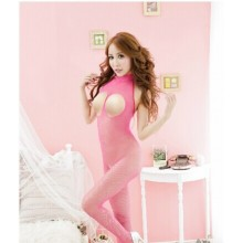 Open Bust Sexy Pink Bodystocking Babydoll YW693