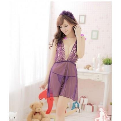 Purple Lavendar Sexy Babydoll Lingerie YW096