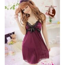 Sexy Deep V Purple Babydoll Dress YW573