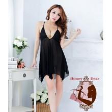 Sexy Babydoll Black Dress YW617