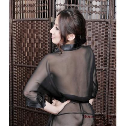 Sexy Babydoll Black Robes Kimono YW564