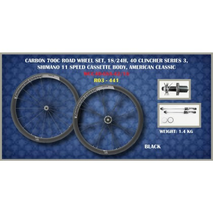 AMERICAN CLASSIC Carbon 40mm Series 3 All Carbon Clincher Rims 700c