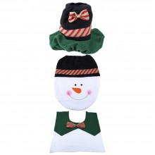 SNOWMAN TOILET SEAT COVER RUG SET CHRISTMAS BATHROOM DECORATION (COLOURMIX) Colour Mix