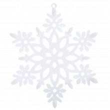 CHRISTMAS GLITTER SNOWFLAKE HANGING DECORATING ORNAMENTS (WHITE) White