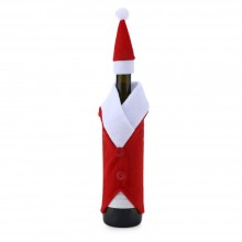 CHRISTMAS WINE BOTTLE DECORATION SANTA CLAUSE CLOTHES COVER (RED) Red