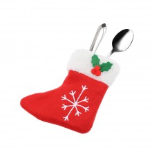 CHRISTMAS SNOWFLAKE PATTERN SOCK SHAPE SILVERWARE CUTLERY HOLDER (RED) Red