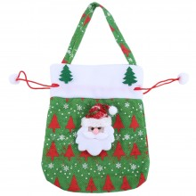 CHRISTMAS SANTA CLAUS / SNOWMAN GIFT DRAWSTRING BAG HANGING DECORATION (GREEN) Green