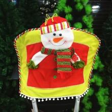 CHRISTMAS CHAIR COVER THREE-DIMENSIONAL SNOWMAN DOLL (GREEN) Green