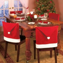 6PCS SANTA CLAUS HAT CHAIR COVER CHRISTMAS DECORATION FOR HOME PARTY HOLIDAY (RED) Red