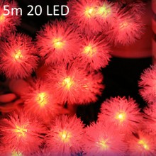 CHRISTMAS TREE DECORS 5M 20 LED SOLAR STRING (RED) Red