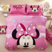 5 in 1 Set 800TC Mickey Minnie Mouse Bedding Bed Sheet Queen King Size