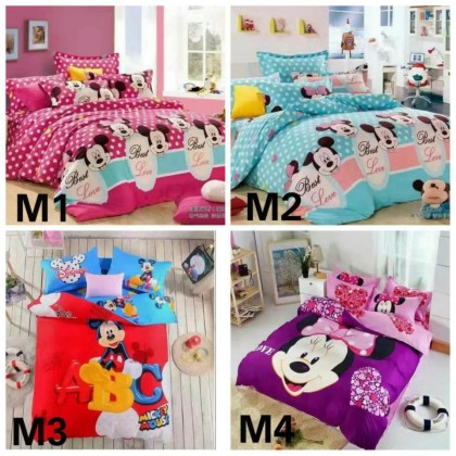 6 in 1 Set 800TC Mickey Minnie Mouse Bedding Bed Sheet Queen King Size