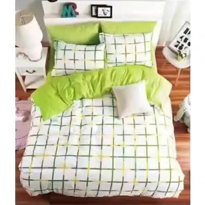 6 in 1 Set 800TC Square Green Design Bedding Bed Sheet Queen King Size