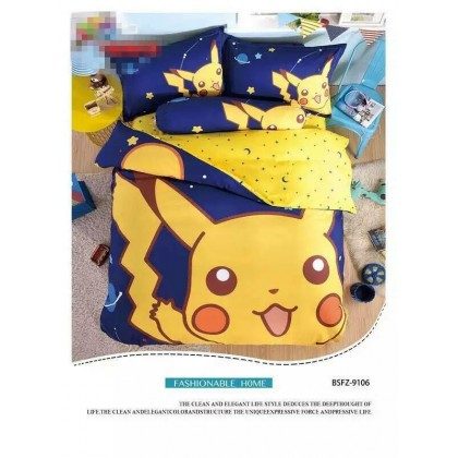 6 in 1 Set Quality 800TC Pokemon Pikachu Bedding Bed Sheet Queen King Size