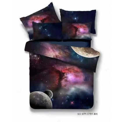 6 in 1 Set Quality 800TC Galaxy Planet Bedding Bed Sheet Queen King Size