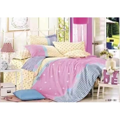 6 in 1 Set 800TC Pink Polka Dots Bedding Bedsheet Queen King Size