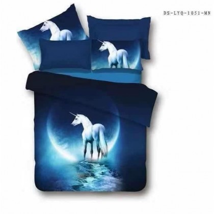 6 in 1 Set 800TC Galaxy Planet Unicorn Bedding Bed Sheet Queen King Size