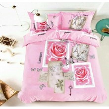 5 in 1 Set High Quality 1200TC Lovely Post Card Bedding Bed Sheet Queen King Size