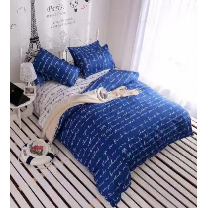 6 in 1 Set Quality 800TC Blue Design Bedding Bed Sheet Queen King Size
