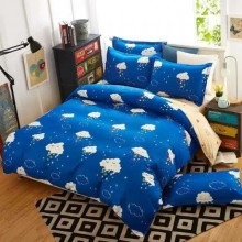 5 in 1 Set Quality 800TC Blue Cloud Bedding Bed Sheet Queen King Size