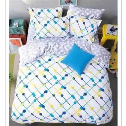 6 in 1 Set 800TC Light Yellow Quote Bedding Bed Sheet Queen King Size