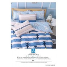 5 in 1 Set 800TC Blue White Strip Bedding Bed Sheet Queen King Size