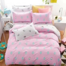 5 in 1 Set 800TC Ice Cream Pink Bedding Bed Sheet Queen King Size