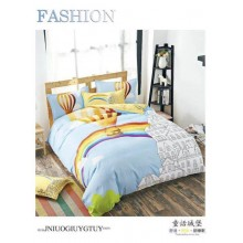 5 in 1 Set 800TC Rainbow Balloon Bedding Bed Sheet Queen King Size