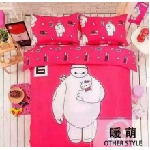 5 in 1 Set Quality 800TC Big Hero Bedding Bed Sheet Queen King Size