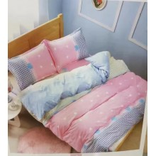 6 in 1 Set Quality 800TC Pink Design Bedding Bed Sheet Queen King Size