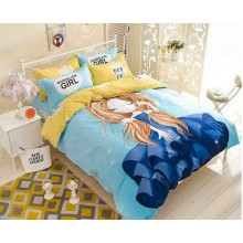 5 in 1 Set Quality 800TC Dandelion Girl Bedding Bed Sheet Queen King Size
