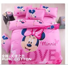 6 in 1 Set Quality 800TC Mickey Minnie Bedding Bed Sheet Queen King Size