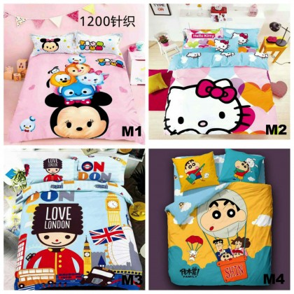 6 in 1 Set 800TC Shinchan Hello Kitty London Queen King Bedding Bed Sheet