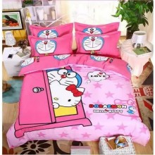 6 in 1 Set Quality 800TC Hello Kitty Doraemon Bedding Bedsheet Queen King Size