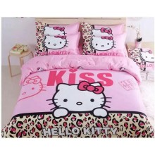 Cute 5 in 1 Set Quality 800TC Hello Kitty Bedding Bed Sheet Queen King Size