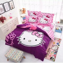 Cute 6 in 1 Set Quality 800TC Hello Kitty Bedding Bed Sheet Queen King Size