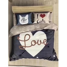 6 in 1 Set Quality 800TC I Love Cats Queen King Size Bedding Bed Sheet