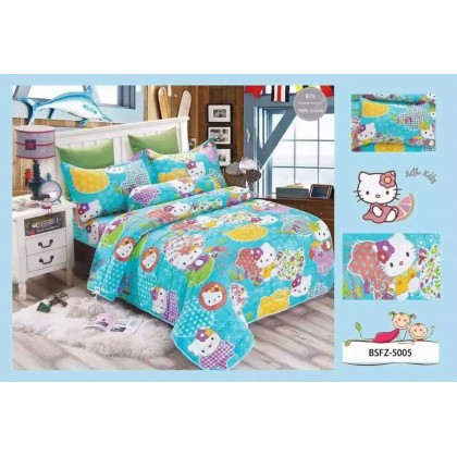 4 in 1 Set High Quality 800TC Hello Kitty Bedding Bed Sheet Super Single Size