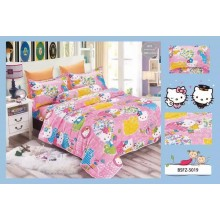 5 in 1 Set High Quality 800TC Hello Kitty Bedding Bed Sheet Super Single Size