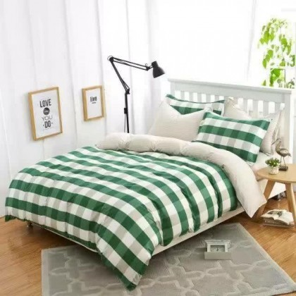 6 in 1 Set Quality 800TC Green Checker Bedding Bed Sheet Queen King Size