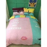 Love 6 in 1 Set Quality 1200TC Couple Forever Bedding Bedsheet Queen King Size