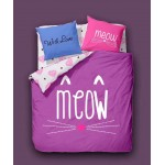 Love 6 in 1 Set Quality 1200TC Cat Meow Bedding Bedsheet Queen King Size