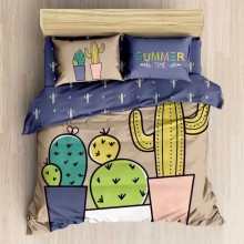 6 in 1 Set 1200TC Summer Time Cactus Queen King Size Bedding Bedsheet