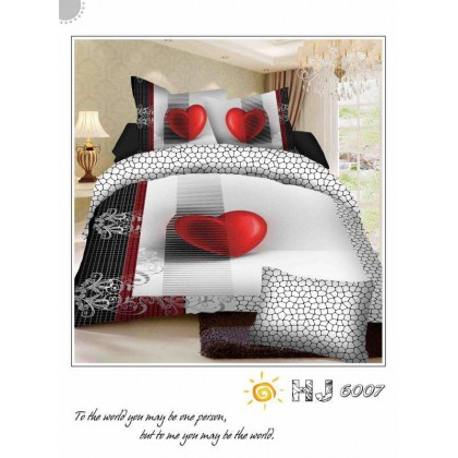 7 in 1 Set 800TC 3D Red Heart Bedding Bed Sheet Queen Size