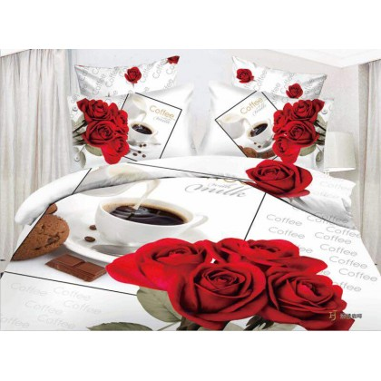7 in 1 Set Quality 3D 800TC Red Rose Coffee Bedding Bedsheet Queen King Size