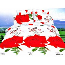 7 in 1 Set Quality 3D 800TC Red Roses Bedding Bedsheet Queen King Size